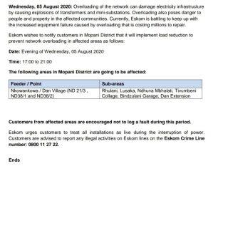 Eskom Load Reduction Notice   Date: 5 August 2020   Provinces: Gauteng, KwaZulu … 117232511 3907346899292025 6552733999699558457 o