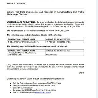 Eskom Load Reduction Notice   Date: 12 August 2020   #EskomFreeState will implem… 117326772 3929340913759290 6302710643956635803 o