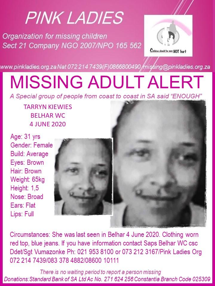 #MissingMinorsPinkLadies   Missing: Belhar WC Tarryn Kiewies 31 yrs 4 June 2020 … 117445419 4095163657222730 879654316436798095 n