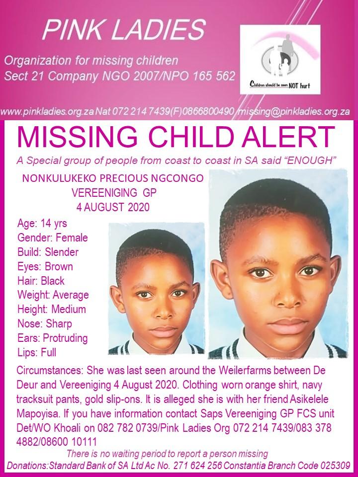 #MissingMinorsPinkLadies   Missing: Vereeniging GP Nonkulukeko Precious Ngcongo … 117527717 4094862627252833 6750361186171281961 n