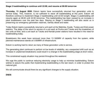 #PowerAlert 2  Stage 2 loadshedding to continue until 22:00, and resume at 08:00… 117532011 3932648260095222 2141682581224508967 o