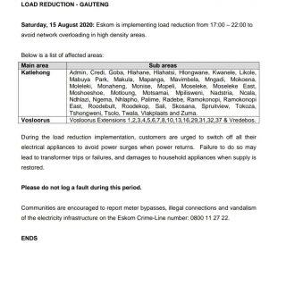 Eskom Load Reduction Notice  Date: 15 August 2020  #EskomGauteng #EskomKZN #Esko… 117644497 3938989742794407 4070472782104216963 o