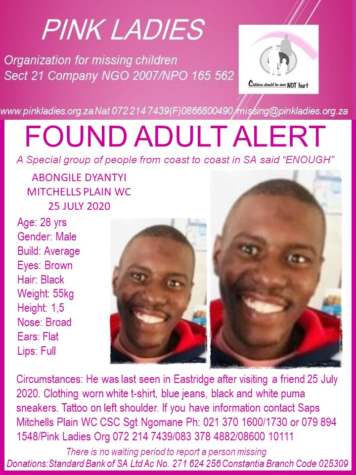 #MissingMinorsPinkLadies   FOUND:  Mitchells Plain WC Abongile Dyantyi 28 yrs 25… 117647912 4093922284013534 1001778467308429444 n