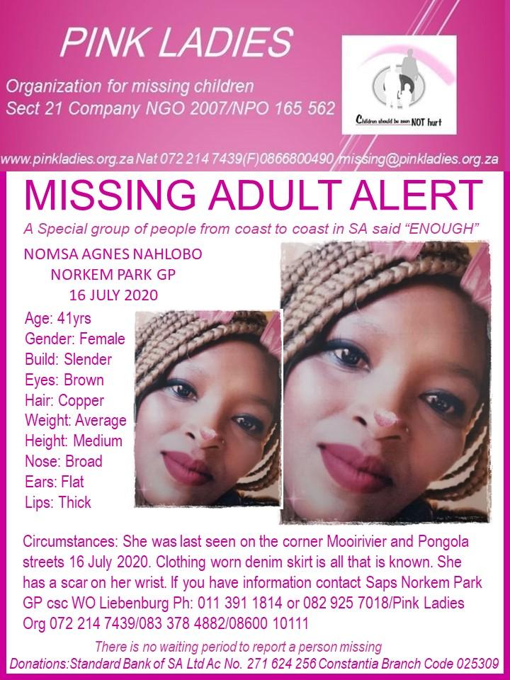 #MissingMinorsPinkLadies   Missing: Norkem Park GP Nomsa Agnes Nahlobo 41 yrs 16… 117700297 4098874920184937 2942289595157943852 n