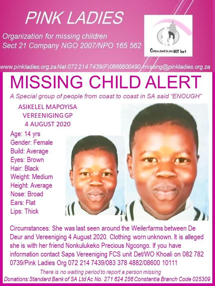 #MissingMinorsPinkLadies   Missing: Vereeniging GP Asikelele Mapoyisa 14 yrs 4 A… 117764402 4094857400586689 5028529737927862602 n