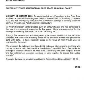 #ESKOMFREESTATE #MEDIASTATEMENT  ELECTRICITY THIEF SENTENCED IN FREE STATE REGIO… 117772535 3944486518911396 8223221909045620194 o