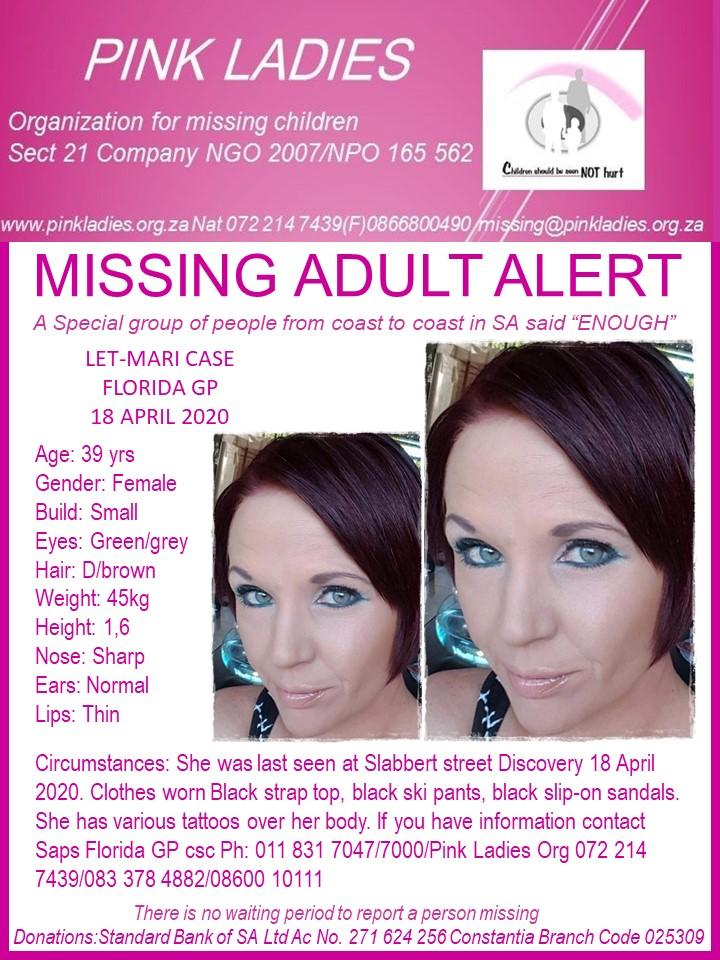 #MissingMinorsPinkLadies   Missing: Florida GP Let-Mari Case 39 yrs 18 April 202… 117818606 4095426237196472 5907927329566162033 n
