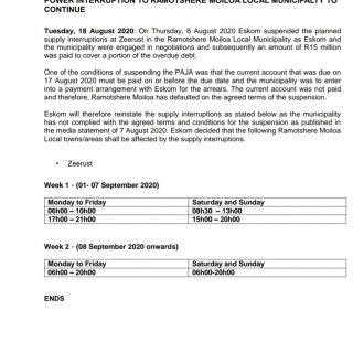 #Eskom_NorthWest #MediaStatement   POWER INTERRUPTION TO RAMOTSHERE MOILOA LOCAL… 117912258 3948381565188558 144485610672195559 o
