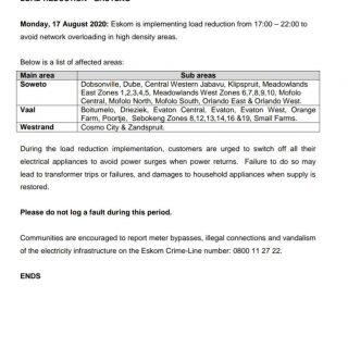 Eskom Load Reduction Notice  Date: 17 August 2020  #EskomGauteng #EskomKZN #Esko… 118004017 3945191938840854 4609204112184238004 o