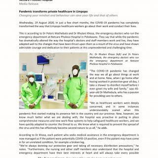 Netcare Pholoso Hospital Media Release – Pandemic transforms private healthcare … 118019898 3344299755591137 4663992891752306556 o
