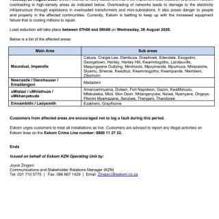 Eskom Load Reduction Notice  Date: 25 August 2020  #EskomGauteng #EskomKZN #Esko… 118435088 3972254682801246 2861164164104598599 o