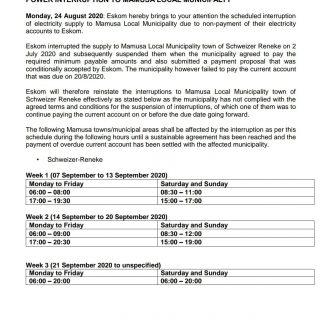 #Eskom_NorthWest  #MediaStatement  POWER INTERRUPTION TO MAMUSA LOCAL MUNICIPALT… 118470752 3968292609864120 6022734491141128294 o
