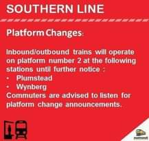 #SouthernLineCT #ServiceAdvisory  Note Platform Changes at Plumstead and Wynberg… 119136039 5013127815379431 8648089245473055350 n