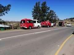 Two men were left injured this afternoon when their bakkie crashed off the R56 i… 119989439 3429540550440618 3992445739864115713 o
