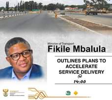 Minister of Transport Fikile Mbalula will today, 19 January 2021 share plans to … 139824695 2708795709431439 6280849614463153071 o