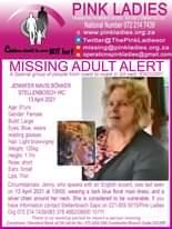 #MissingMinorsPinkLadies   Missing: Stellenbosch WC Jennifer Mavis Bőnker 61yrs … 174261720 5217316161674135 9165581826744742627 n