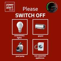 #PowerAlert   10 May 2021   17:00  Our power system is under severe pressure.  P… 185176933 4759803250713048 5165106647016160615 n