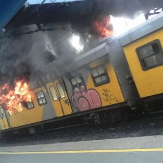 Another Metrorail train alight in Cape Town, this one in Retreat. This brings th… Another Metrorail train alight in Cape Town this one in Retreat