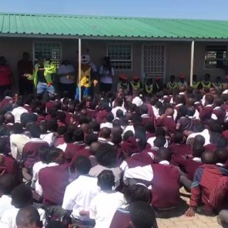 Road Safety Mascot Dannycat interacting with learners from Bertha Gxowa Primary … 41086527 981360262047294 2308187597500841984 n 320x320