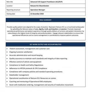 Advanced Life Support Practitioner (ALS / ECP) Netcare 911 Bloemfontein. 48270337 2085983058089486 2186456503366451200 n 320x320
