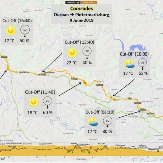 Weather forecast for Comrades 2019, Durban to Pietermaritzburg. It will be cloud… 62018450 1032693796933943 4070214775546576896 o 320x320