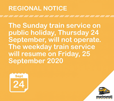 #ServiceAdvisory #Heritage Day  Regional Announcement 120033687 5077945505564328 6987563009269849953 n
